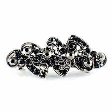 NEW Rhinestone black color metal HairClip Barrette 118011jan18