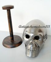 Medieval Greek Skull Skeleton Helmet Chrome With Wooden Stand Christmas Gift ...