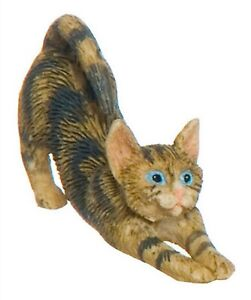Dollhouse Miniature Brown Tabby Cat Stretching, A3100BR
