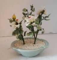 Vintage Jade Tree White Blossoms Celadon Pot