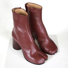 MAISON MARTIN MARGIELA tabi split toe burgundy leather high heel boots 35 NEW