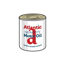 Vintage Atlantic Oil Decal Sticker Tin Bottle Drum Garage