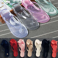 Womens Bow Knot Summer Flip Flops Flat Thongs Clear Transparent Sandals Slippers