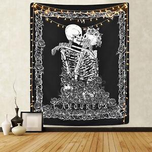 Skull Tapestry The Kissing Lovers Wall Hanging Black Tarot Tapestry Home Decor