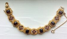 Vintage ART Arthur Pepper Red Stone Bracelet,Safety chain,Victorian Style,Signed