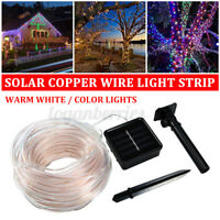 12M Outdoor LED Strip Rope Lights Solar Power Fairy String Light 100 LEDs Lights