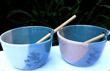 Australian SHEPHERD POTTERY Stoneware Rice/Noodle Bowls with Chopsticks- In Aust