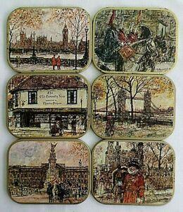 Set of 6 Antique / Vintage, Coasters, London England.  Clover Leaf