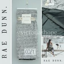 "NWT Rae Dunn ""COZY."" Throw Blanket Tipped Sherpa Plush 50x60 ~ Gray/Charcoal"