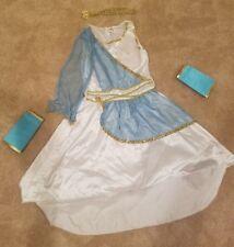 Greek Goddess White and Blue Dress w/ Velcro Arm Bands and Headband