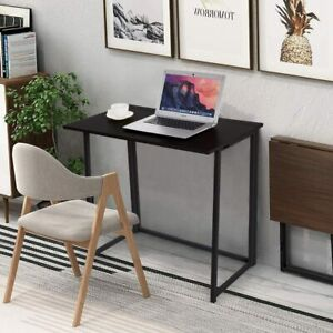 Small Folding Computer Desk Teens' Study Table Notebook Desk Home Office - Black