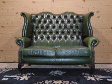 Divano Chesterfield 2 Posti Originale Inglese in Pelle Verde Antico