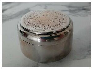 Antik Silber Dose / Pillendose mit eingravierten Verzierungen