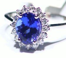 3.06ct 14k ORO Tanzanita Natural Diamante Vintage AAA Anillo Compromiso Boda