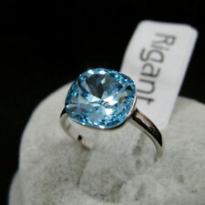 Wedding Engagement 18K White Gold Filled Cut Ocean Blue Ring size 7.25