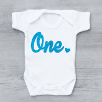 Blue Glitter 1st First Birthday Love Heart Unisex Baby Grow Bodysuit