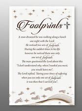 Footprints Glass Plaque - Sentiments Product Range  House Holy Religious Gift