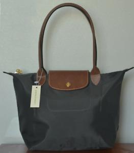 Womens Grey New Longchamp Le Pliage Nylon Tote Handbag Bag Size Large