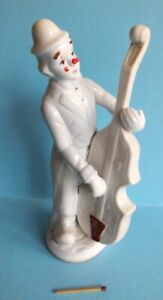 Gilde Porzellan Siegel Handarbeit Clown Figur mit Cello / Kontrabass ca. 21 cm