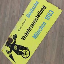 altes Emaille Schild Verkehrsausstellung München 1953 emailliert alte Werbung