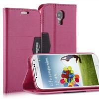 Livre Coque Pour Samsung Galaxy S4 Anthracite Rose Fermeture Magnétique Étui Neu