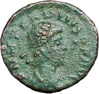 ARCADIUS 383AD Ancient Roman Coin VICTORY Nike  Chi-Rho Christ Monogram  i27896