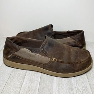 Crocs Brown Leather Loafers Slip Ons Men's 13
