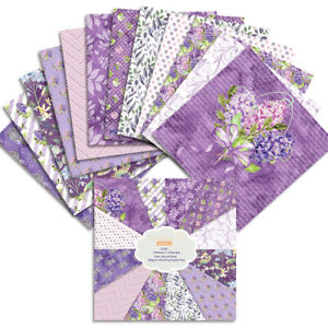 12X Purple Flower Paper Pad Scrapbooking Card Junk Journal Album Planner Decor