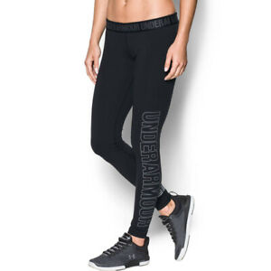 Under Armour UA Ladies Favourite Graphic Logo Sports Black Gym Training Leggings