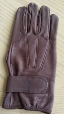 Leather driving horseback riding gloves Dark Brown  SMALL