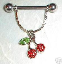 Nipple Bar - Cherry Dangle - Surgical Steel Bar