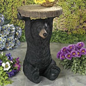 Rustic Black Bear Holding Sliced Tree Slab Home Side Planter Accent Table