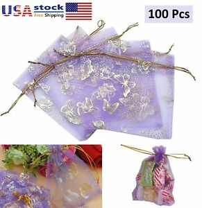 100Pcs Organza Drawstring Butterfly Pattern Pouches Bags Jewellery Wedding Favor