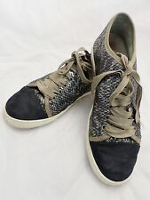 LANVIN authentic gray silver black leather suede ribbon sneakers trainers 39 9