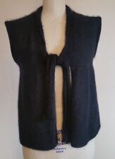 Free People Women'S Sz M Cap Sleeve Rabbit Hair Angora Black Tie Jacket