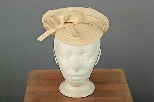 VTG Women's 30s 40s Ivory Straw Hat / Cap 1930s 1940s