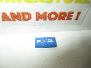 Lego 1x Tile Decorated 1x2  'POLICE' White on Blue 60041 60047 3069bpb296