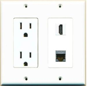 DecorZ - 15 Amp Power Outlet and 1 Port HDMI Shielded Cat6 Ethernet Wall Plate
