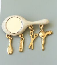 signed Danecraft vintage style hair care mirror brooch with accessory