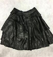 Ivan Grundahl Copenhagen Black Leather Deconstruct Skirt sz 6