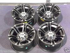 "12"" KAW. BRUTE FORCE 750 ALUMINUM ATV WHEELS NEW SET 4 LIFE WARRANTY SS212 BLK"