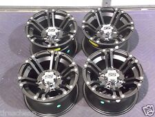 "12"" SUZUKI KING QUAD 700 ALUMINUM ATV WHEELS NEW SET 4 LIFE WARRANTY SS212 BLK"
