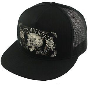 Lucky 13 Dead Skull Tattoos Goth Punk Biker Trucker Snapback Cap Hat LCSB5DS