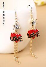 Diamond cuore con scritta love orecchini