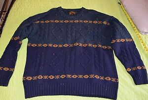 Vintage 90s EDDIE BAUER Heavy 100% Wool Crewneck Sweater Mens XL Christmas