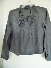 GAP Gray  ruffle tunic top-L Large-cotton/silk-EUC
