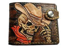 Men's 3D Genuine Leather Wallet, Hand-Carved, Airbrush Art, Cowboy, Skull