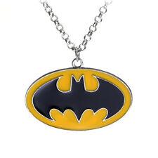 "Batman Necklace superhero logo symbol yellow unisex pendant Stainless Steel 20"""