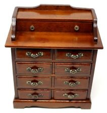 Vintage Wooden Musical Jewelry Armoire Organizer Box Brass Hardware Drawers