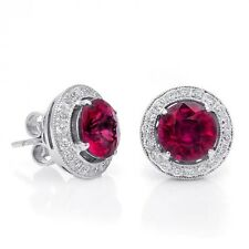 Natural Rubelite 3.25 carats set in 18K White Gold Earrings
